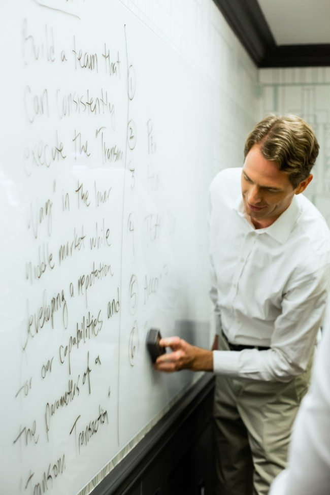 Corporate Photography by MRP Professor at Whiteboard