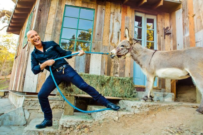Commercial Actor Headshot with Donkey