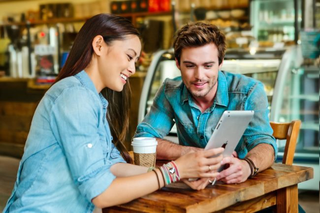 Casual Commercial Photograph of Asian Woman and Young Man at Coffee Shop in LA