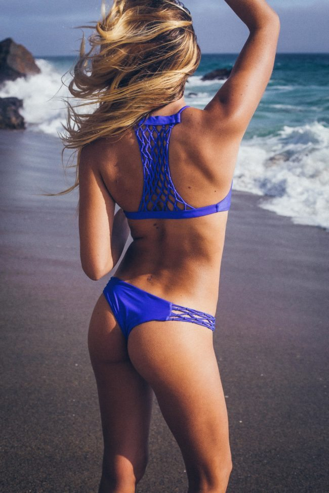 Woman in Purple Bikini on LA Beach for Lifestyle Photo Shoot