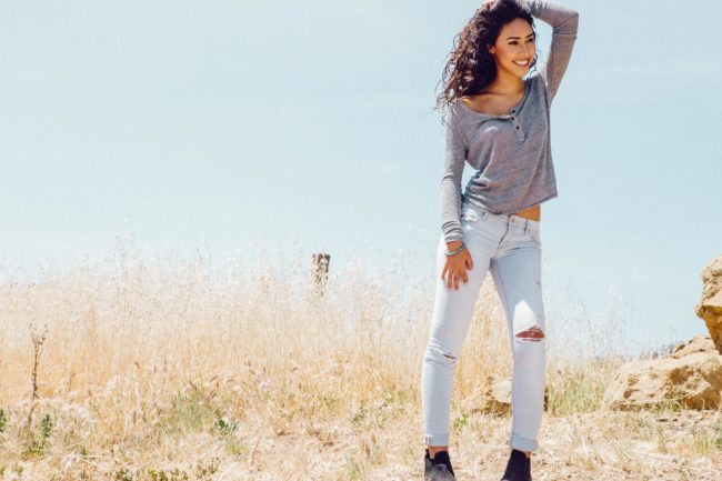 Casual Lifestyle Photograph of Woman in Jeans in Desert of California
