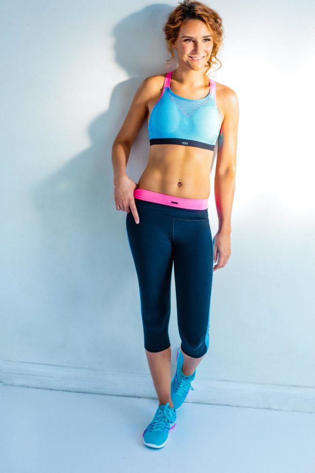 Woman in Exercise Clothing for LA Fitness Photoshoot