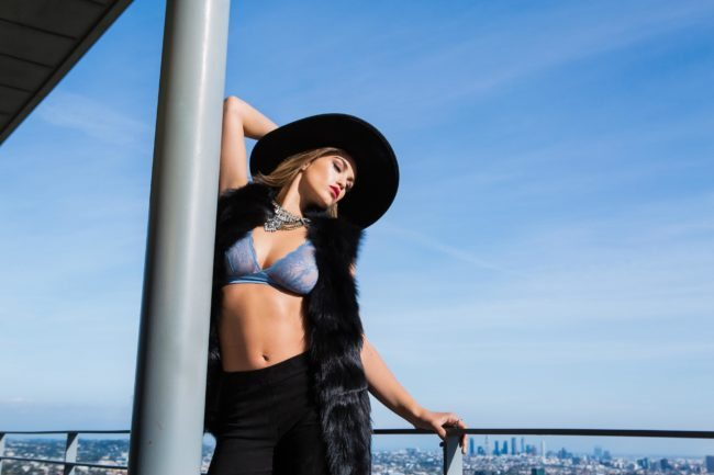 Sunny Los Angeles Day with Model in Black hat by Michael Roud Photography
