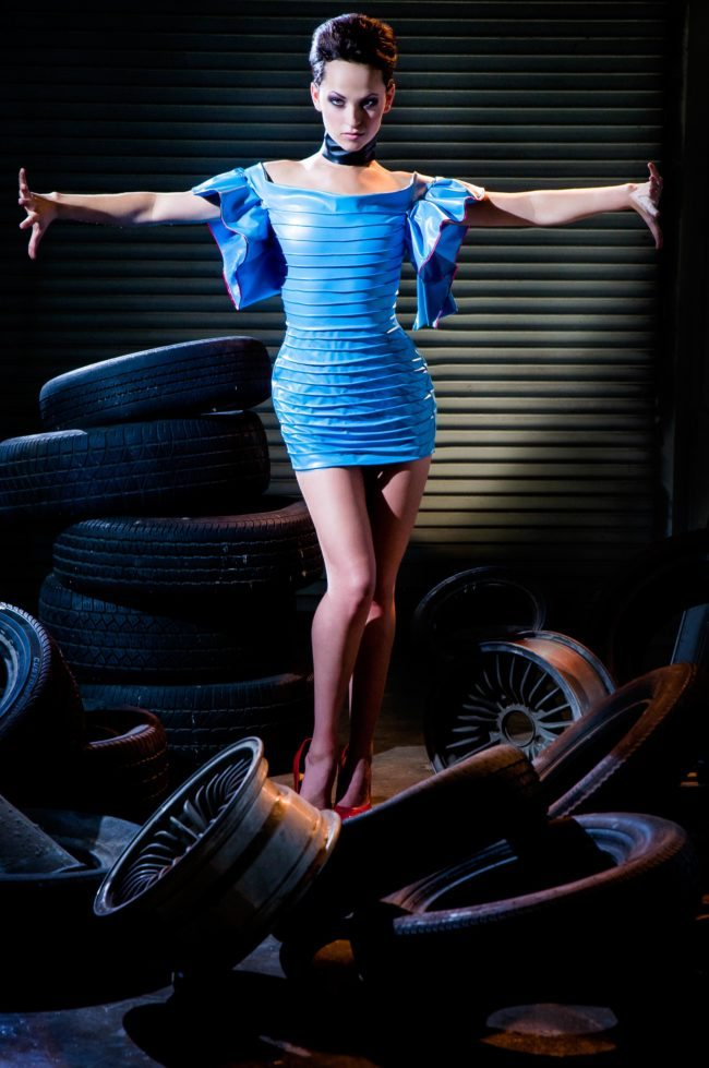 Photographer for Modeling Portfolios in Los Angeles, Model in Blue with Tires