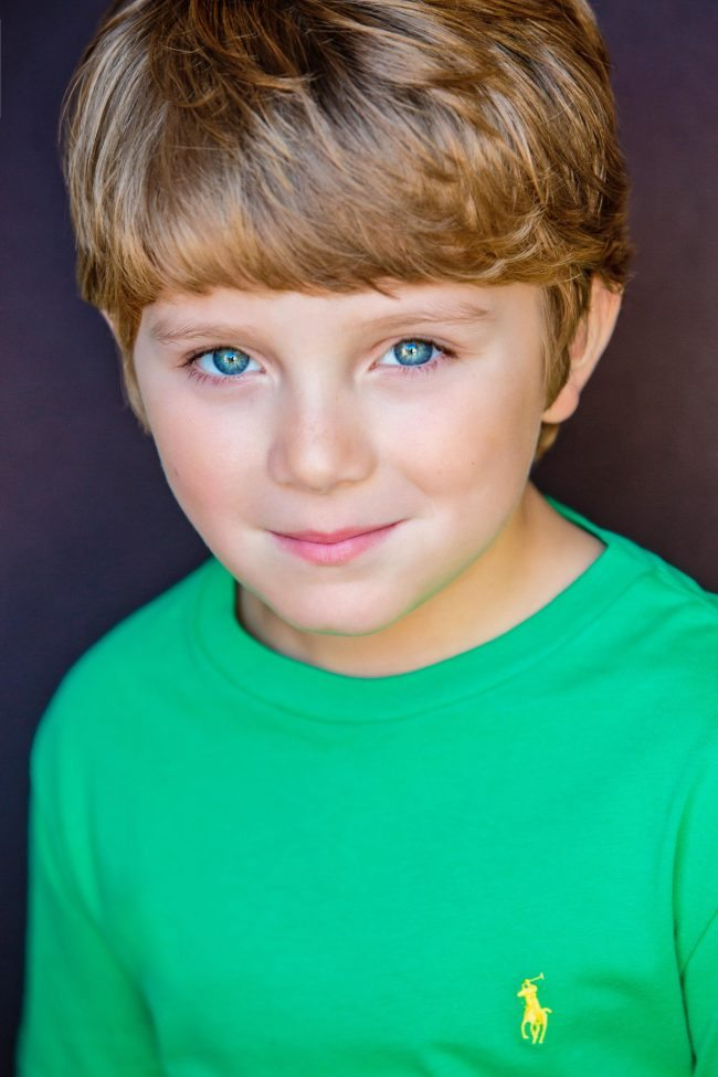 Boy in Green a Kids Headshot by Michael Roud Photography